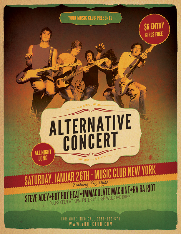 Alternative Concert Flyer Template  Vandelay Design