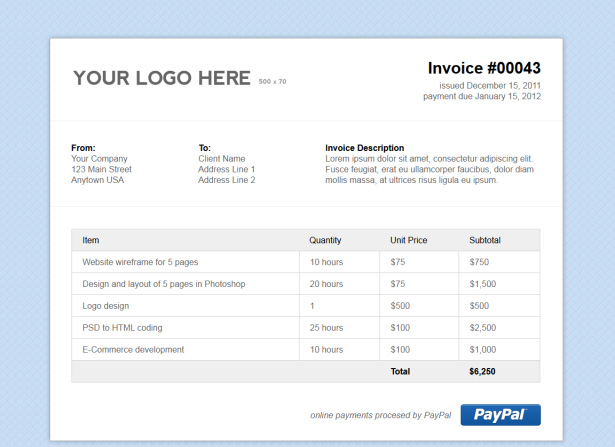 Simple HTML Invoice Template