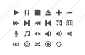 Minimal Media Player Icons
