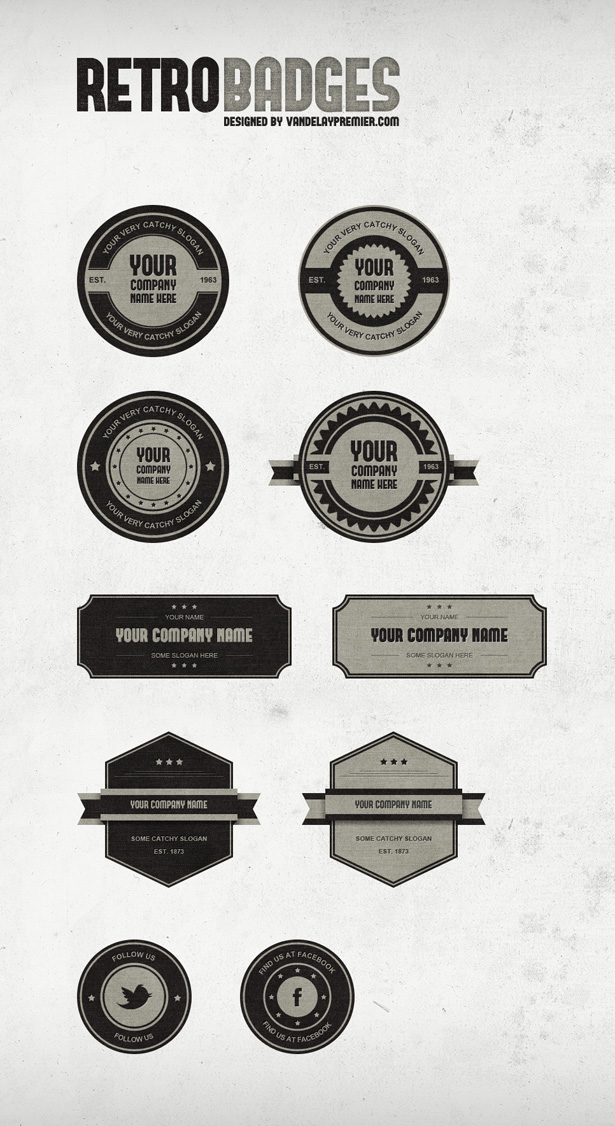 Retro Badges PSD