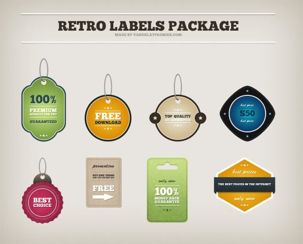 Retro Labels PSD