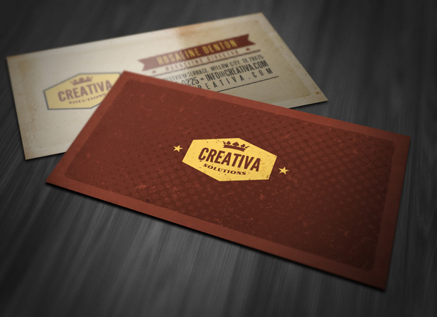 Retro Textured Business Card Template