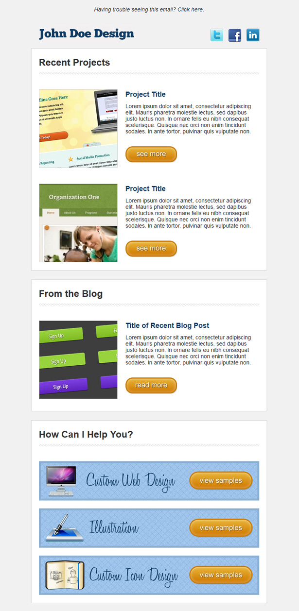 Simple HTML Email Newsletter Template
