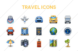 Vacation and Travel Icon Vectors