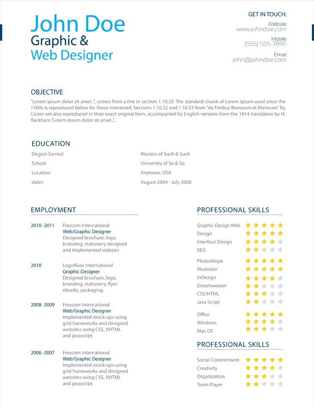 adobe illustrator resume templates image search results