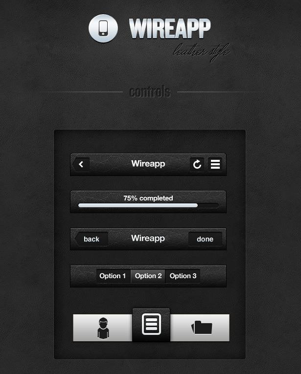Wireapp Mobile UI Set - Leather Style