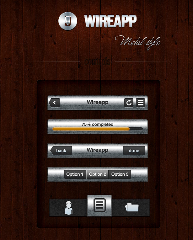 Wireapp Mobile UI Set - Metal Style